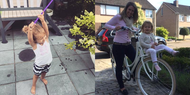 Op de batavus fiets met mama